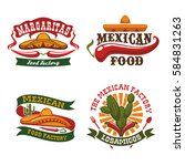 mexican cuisine vector icons of ... | Shutterstock .eps vector #584831263
