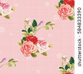 seamless floral pattern three... | Shutterstock .eps vector #584833390