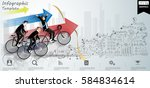 businessman 3 people cycling... | Shutterstock .eps vector #584834614