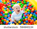 happy laughing boy having fun... | Shutterstock . vector #584840134