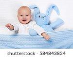 funny little baby wearing a... | Shutterstock . vector #584843824