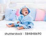 cute happy laughing baby boy in ... | Shutterstock . vector #584848690