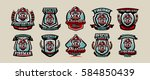 set of colorful emblems  icons  ...