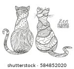 zen cats. design zentangle.... | Shutterstock .eps vector #584852020