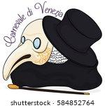 traditional plague doctor...   Shutterstock .eps vector #584852764
