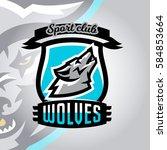 colorful logo  emblem  a wolf... | Shutterstock .eps vector #584853664