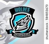 colorful logo  emblem  a wolf... | Shutterstock .eps vector #584853670