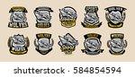set of colorful emblems  logos  ... | Shutterstock .eps vector #584854594