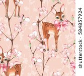 cherry blossom and fawns.... | Shutterstock . vector #584857924