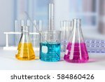 laboratory glassware with... | Shutterstock . vector #584860426