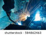 the motion welding robots in a... | Shutterstock . vector #584862463