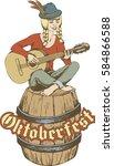 oktobrfest card  girl with... | Shutterstock .eps vector #584866588