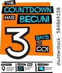 the countdown has begun  3 days ... | Shutterstock .eps vector #584869258