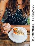 young girl having a good...   Shutterstock . vector #584869390