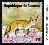 Small photo of MOSCOW, RUSSIA - FEBRUARY 19, 2017: A stamp printed by Burundi shows fennec fox or fennec (Vulpes zerda), series Animals Burundi, circa 1975