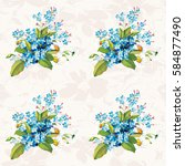 seamless floral pattern with... | Shutterstock .eps vector #584877490