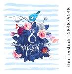 happy 8 march. women's day... | Shutterstock .eps vector #584879548