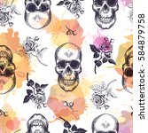 seamless pattern with human... | Shutterstock .eps vector #584879758