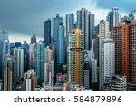 aerial view of hong kong... | Shutterstock . vector #584879896