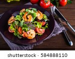 fresh salad plate with shrimp ... | Shutterstock . vector #584888110