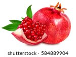 pomegranate isolated on white... | Shutterstock . vector #584889904