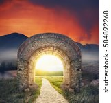 mysterious gate dreamy sunny... | Shutterstock . vector #584892268
