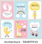 set of baby shower cards.... | Shutterstock .eps vector #584895910