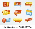 set of promotional labels with... | Shutterstock .eps vector #584897704
