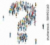 people crowd question mark... | Shutterstock .eps vector #584901160