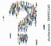 people crowd question mark... | Shutterstock .eps vector #584901160