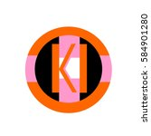 initial letter ki orange color... | Shutterstock .eps vector #584901280