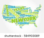 usa map word cloud with most... | Shutterstock . vector #584903089