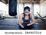 young girls doing exercise in... | Shutterstock . vector #584907514
