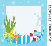 summer logo background vector... | Shutterstock .eps vector #584916718