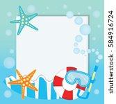 summer logo background vector... | Shutterstock .eps vector #584916724