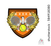 crossed rackets with tennis... | Shutterstock .eps vector #584918380