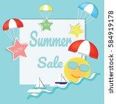 summer logo background vector... | Shutterstock .eps vector #584919178