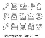 sewing and needlework icons ... | Shutterstock .eps vector #584921953