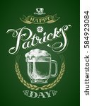st. patricks day. glass beer... | Shutterstock .eps vector #584923084