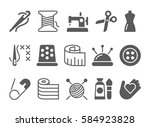 sewing and needlework icons.... | Shutterstock .eps vector #584923828
