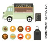 delicius food. truck icon.... | Shutterstock .eps vector #584927164
