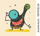 cute black monster with... | Shutterstock .eps vector #584928118