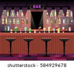 bar counter with stools before... | Shutterstock .eps vector #584929678