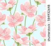 seamless pattern of blooming... | Shutterstock .eps vector #584932648