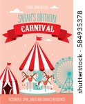 fun fair  carnival birthday... | Shutterstock .eps vector #584935378