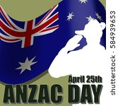 anzac day banner or poster... | Shutterstock .eps vector #584939653