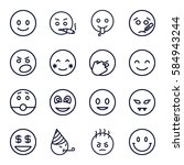 smiley icons set. set of 16... | Shutterstock .eps vector #584943244