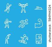 athlete icons set. set of 9...