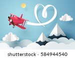 paper art of ribbon hang with a ... | Shutterstock .eps vector #584944540