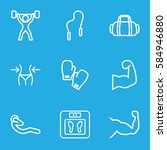 fitness icons set. set of 9... | Shutterstock .eps vector #584946880